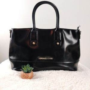Versace jeans patent large structured tote…